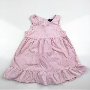 Chaps Corduroy Sleeveless Dress Pink Floral 18 mo